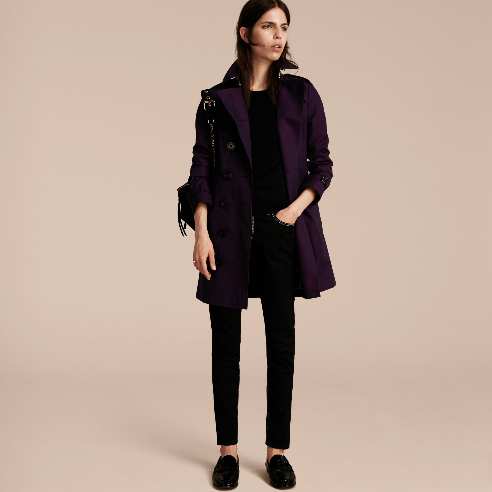 Dark purple Cotton Gabardine Trench Coat Dark Purple - immagine della galleria 6