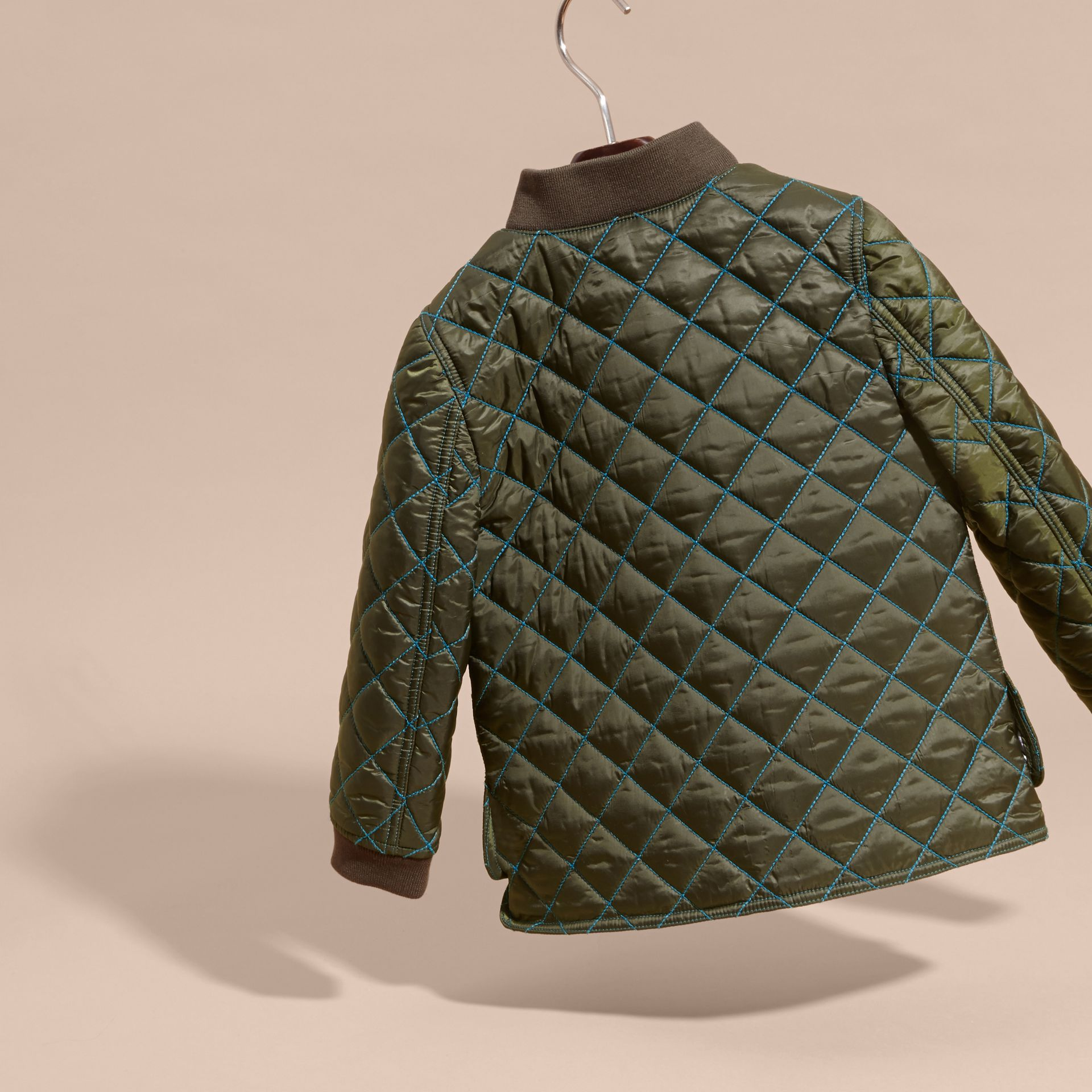 Olive green Quilted Technical Jacket with Contrast Topstitch Detail - gallery image 4