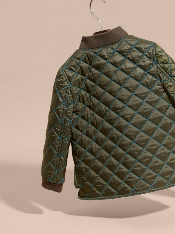 Olive green Quilted Technical Jacket with Contrast Topstitch Detail - cell image 3