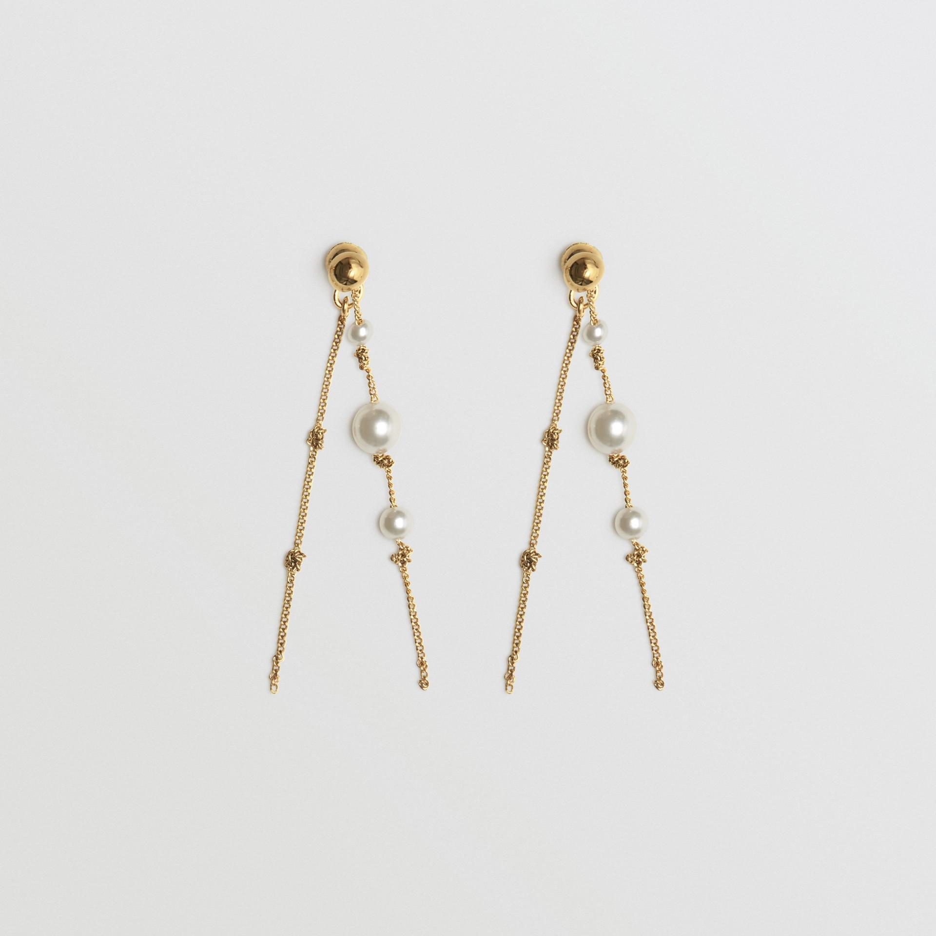 Vergoldete Chandelier-Ohrringe mit Schmuckperlen (Helles Goldfarben) - Damen | Burberry - Galerie-Bild 0