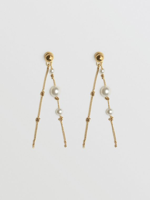 Faux Pearl Gold-plated Drop Earrings in Light