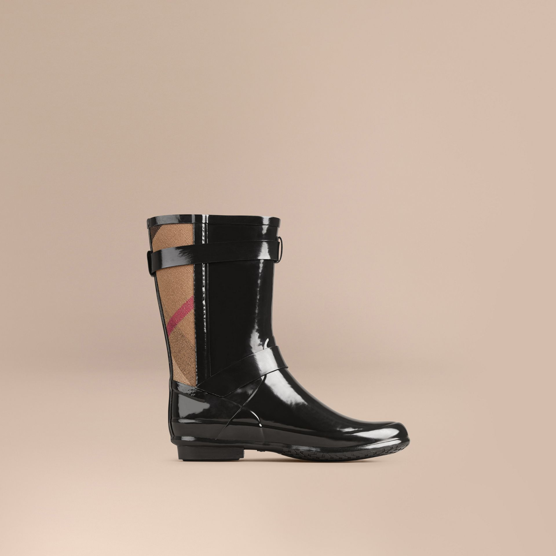 Black Check Detail Belted Rain Boots - gallery image 3