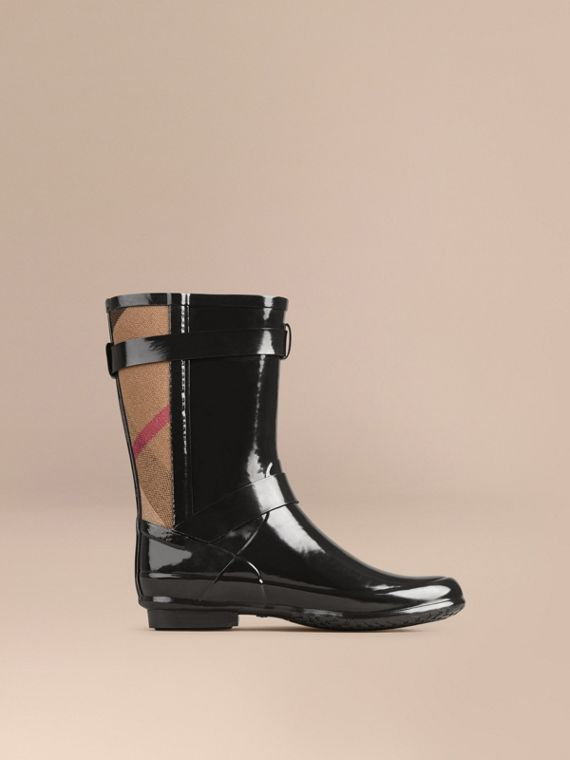 Black Check Detail Belted Rain Boots - cell image 2