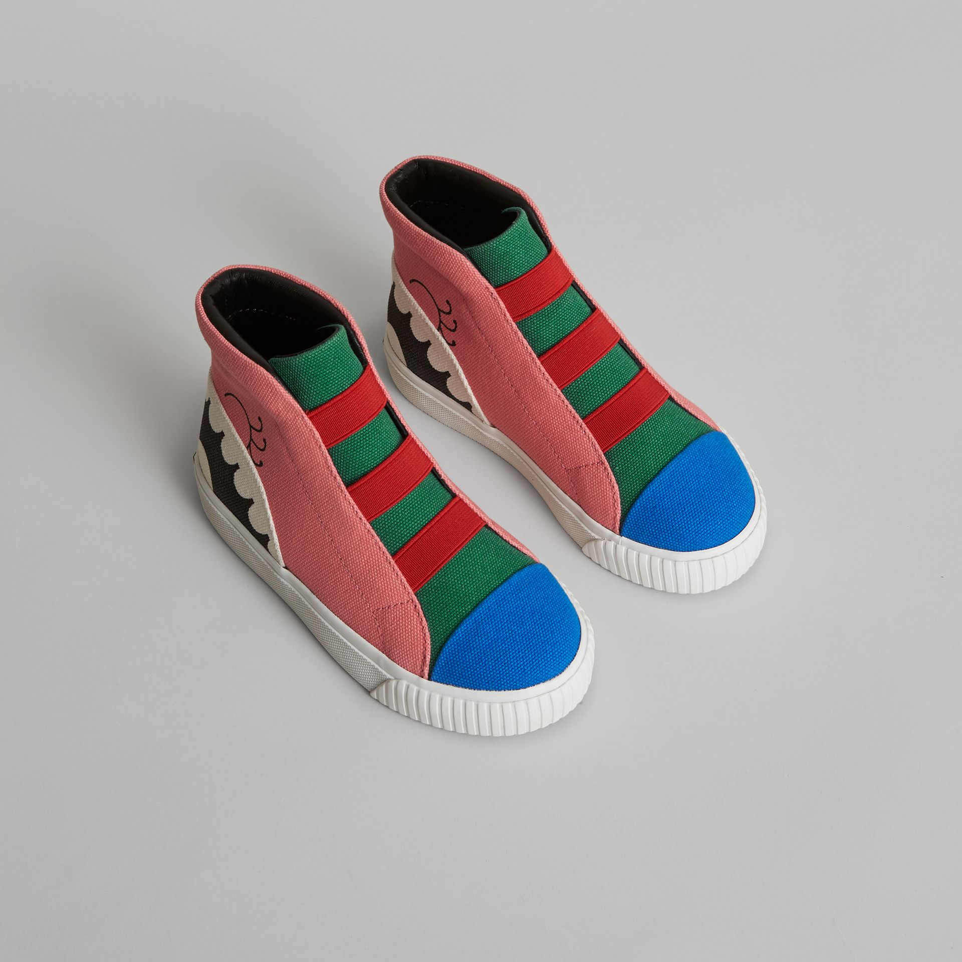 Monster Graphic High-top Sneakers in Pink Azalea | Burberry United Kingdom - gallery image 0