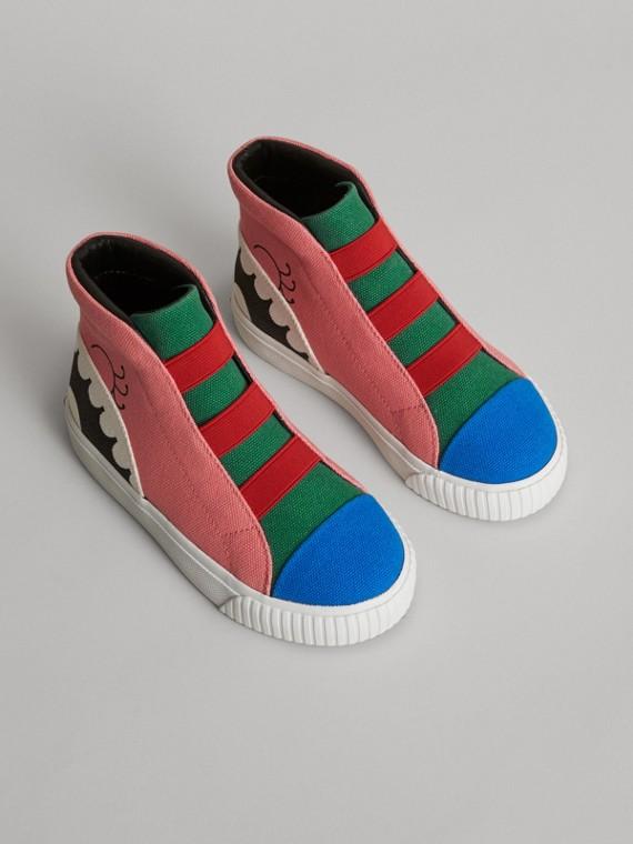 怪獸圖案高筒運動鞋 (粉杜鵑色)