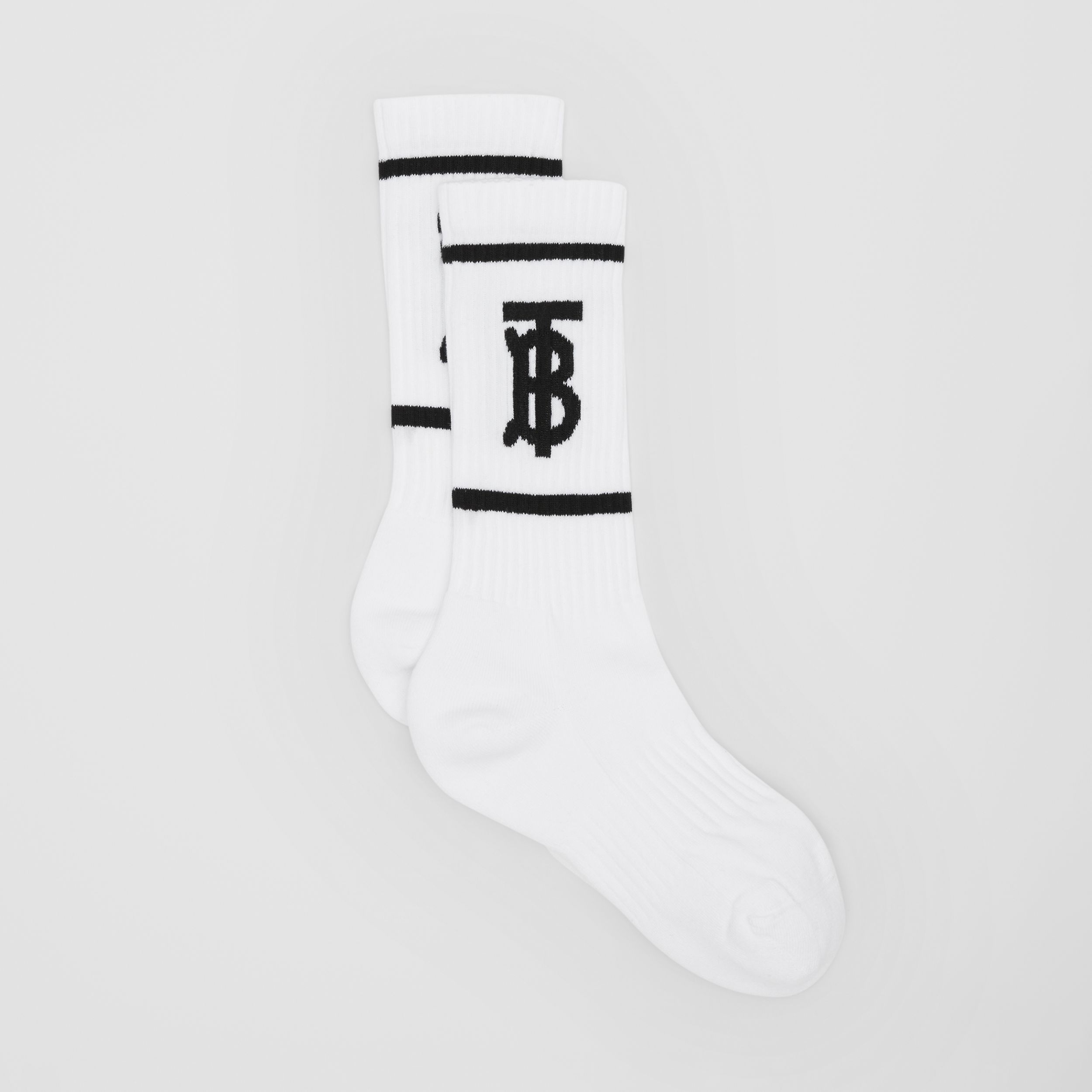 Monogram Motif Intarsia Socks in White/black | Burberry - 3
