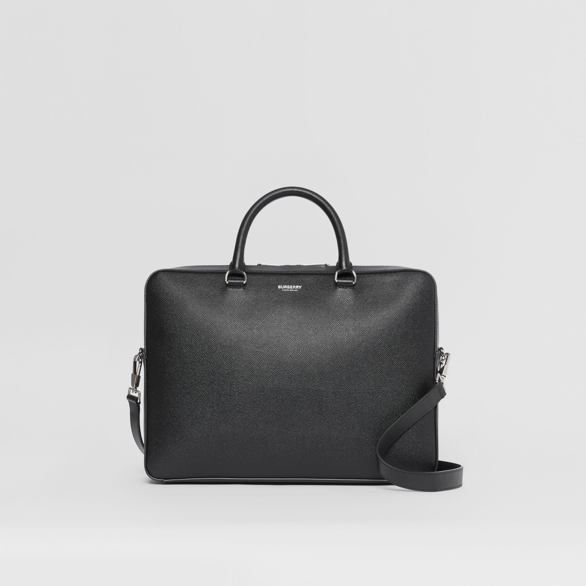 Grainy Leather Briefcase in Black - Men | Burberry - gallery image 0