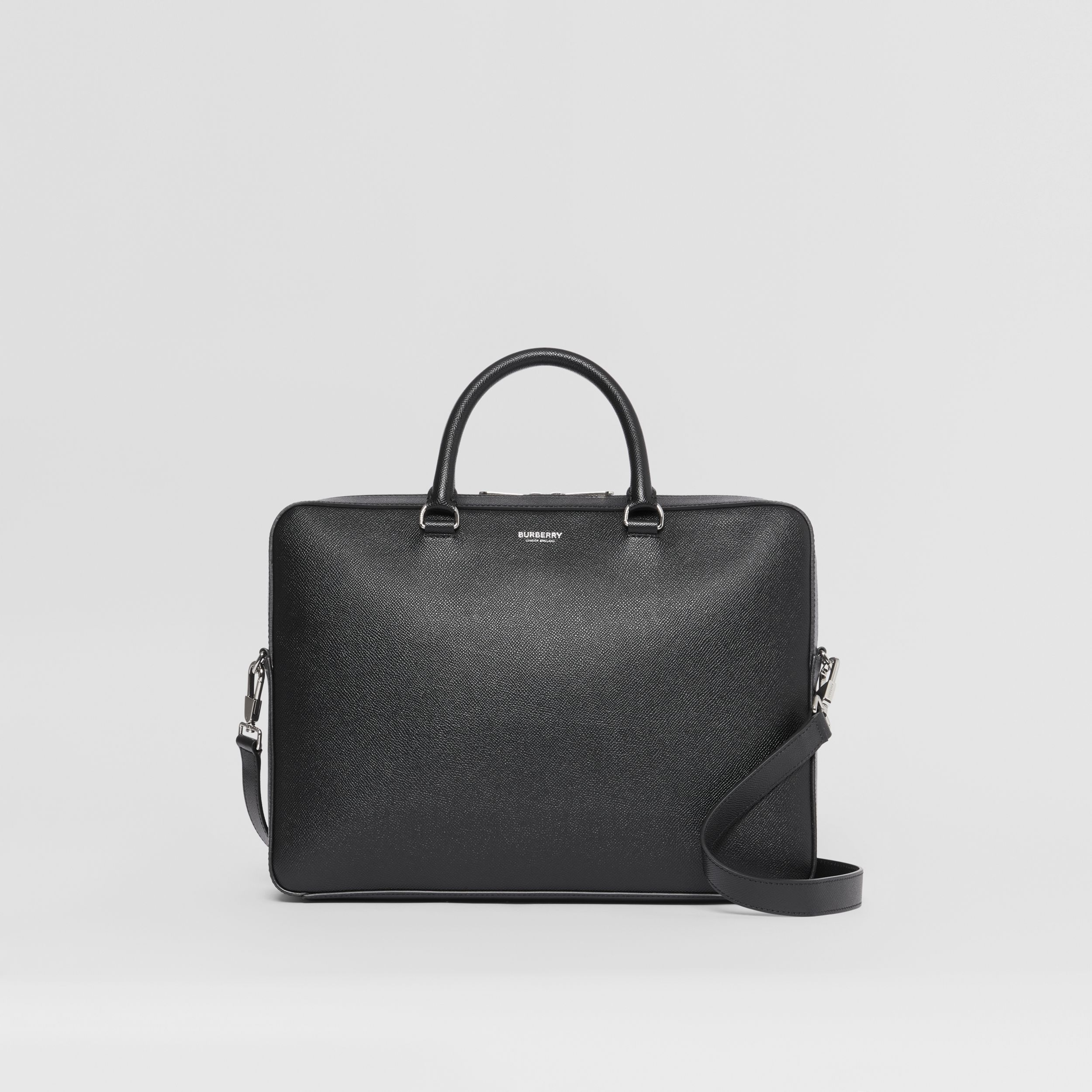 Grainy Leather Briefcase in Black - Men | Burberry - 1