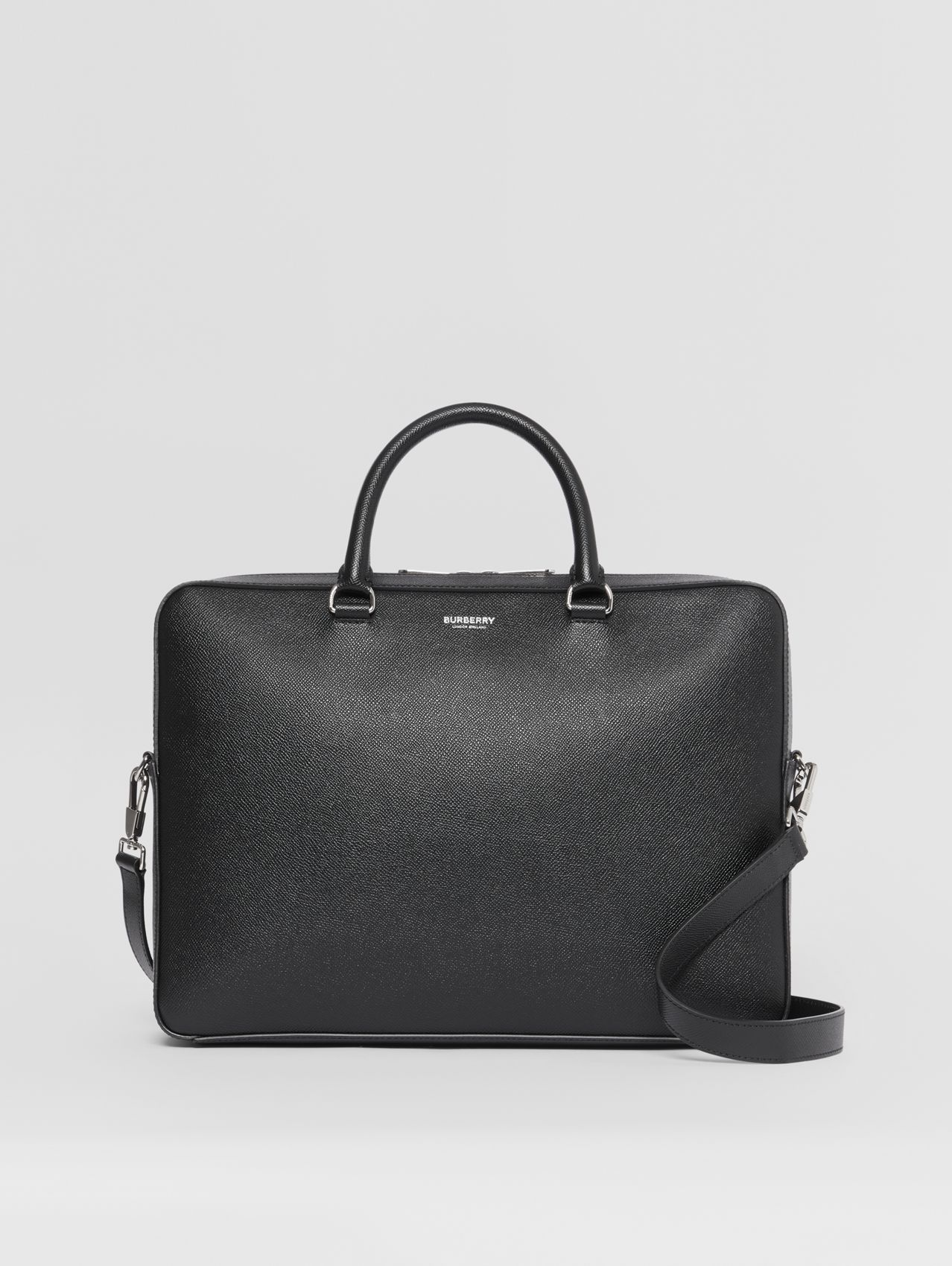 Grainy Leather Briefcase in Black