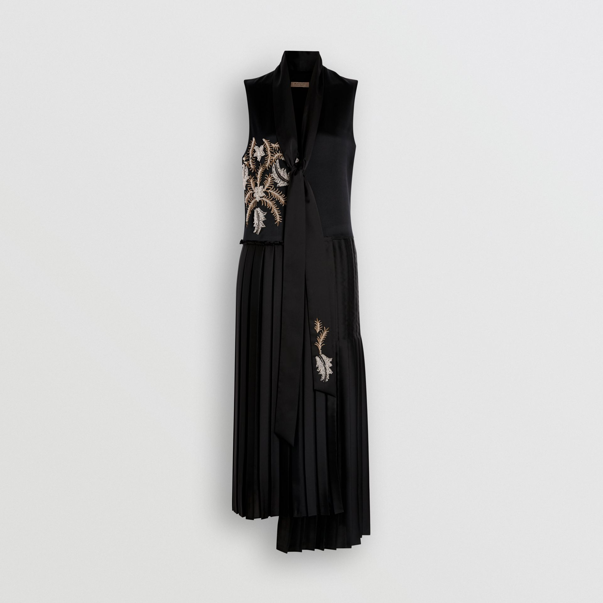 Bead-embellished Silk Satin Asymmetric Dress in Black - Women | Burberry United Kingdom - gallery image 3