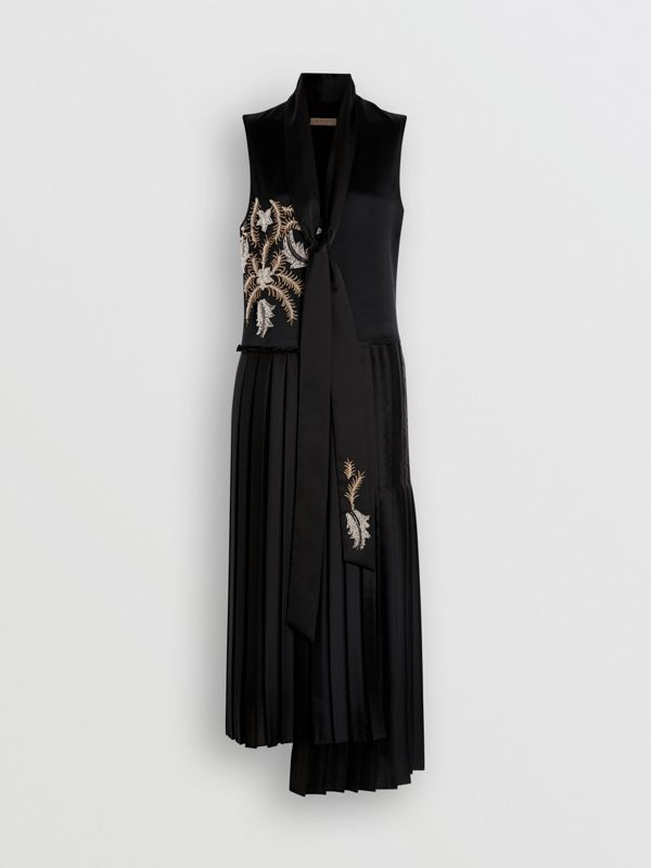 Bead-embellished Silk Satin Asymmetric Dress in Black - Women | Burberry United Kingdom - cell image 3