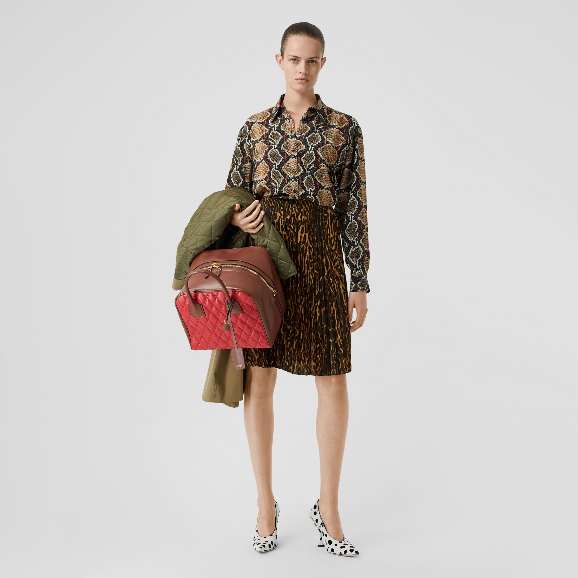 Leopard Print Pleated Skirt in Dark Mustard - Women | Burberry United Kingdom - gallery image 0