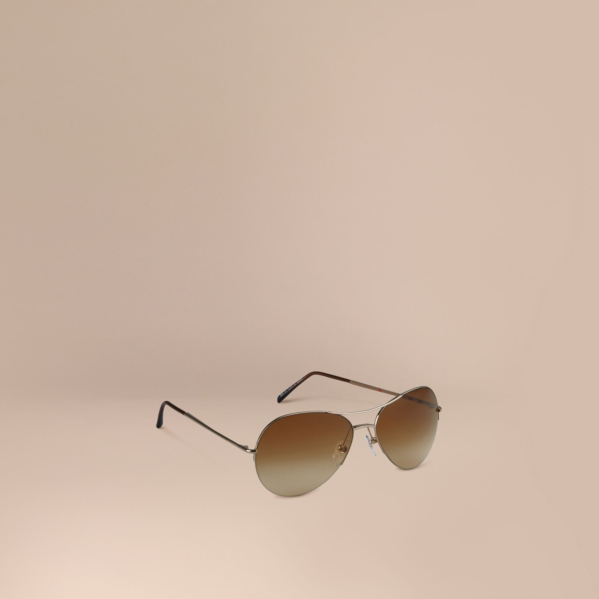 Half-Frame Pilot Sunglasses in Pale Gold - Women | Burberry Australia - gallery image 1