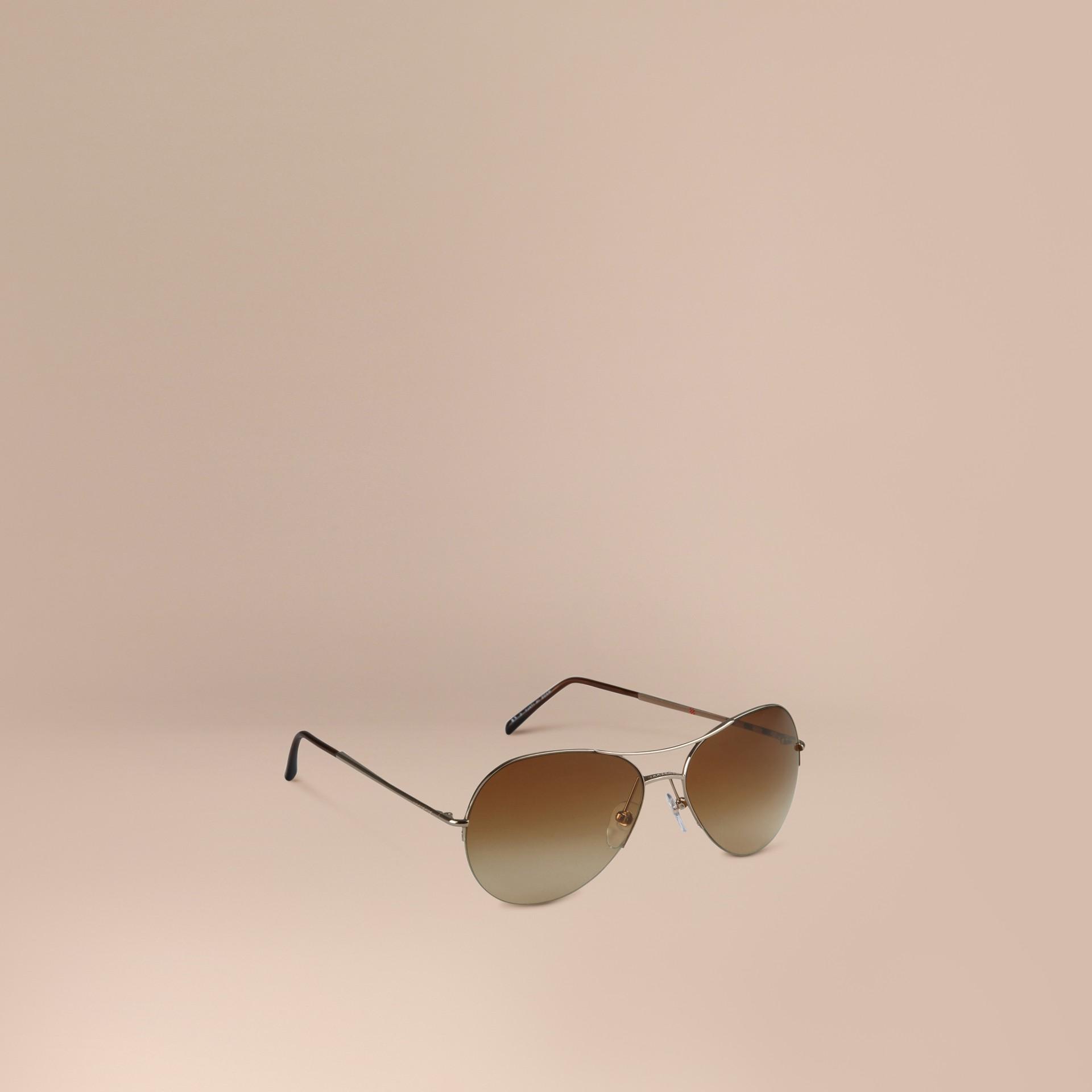 Burberry Glasses Half Frame : Half-Frame Pilot Sunglasses in Pale Gold - Women Burberry