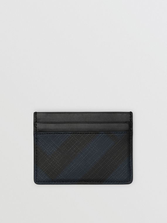 Porta carte di credito con motivo London check (Navy/nero)