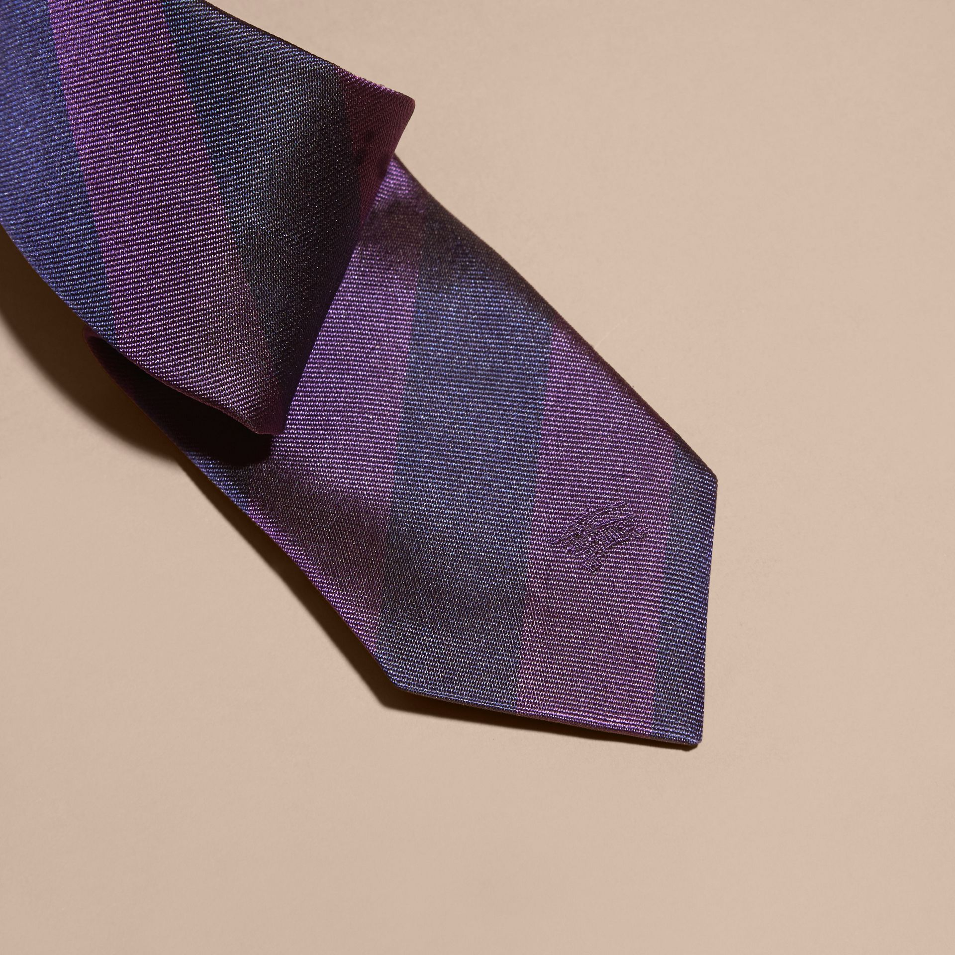 Slim Cut Stripe Jacquard Silk Tie in Purple Black - gallery image 2