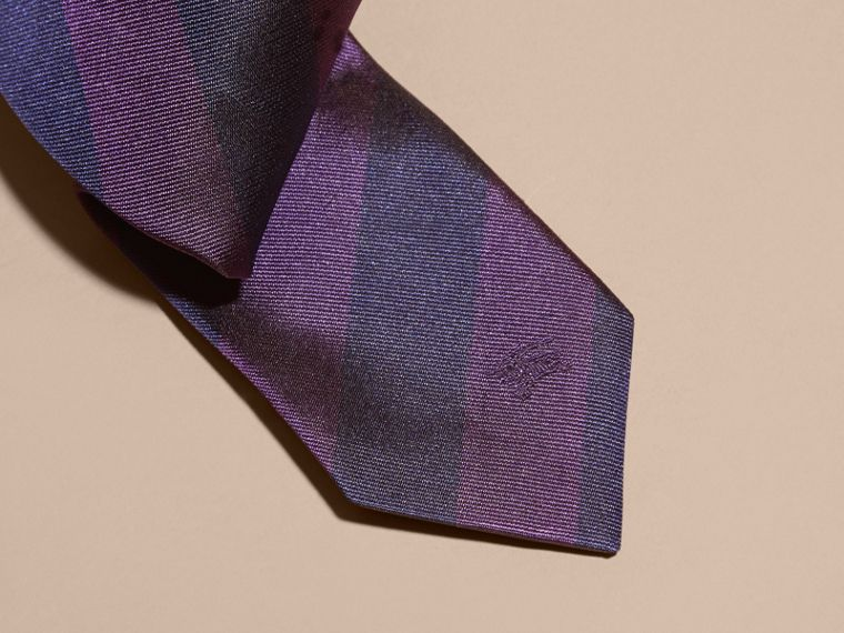 Slim Cut Stripe Jacquard Silk Tie in Purple Black - cell image 1