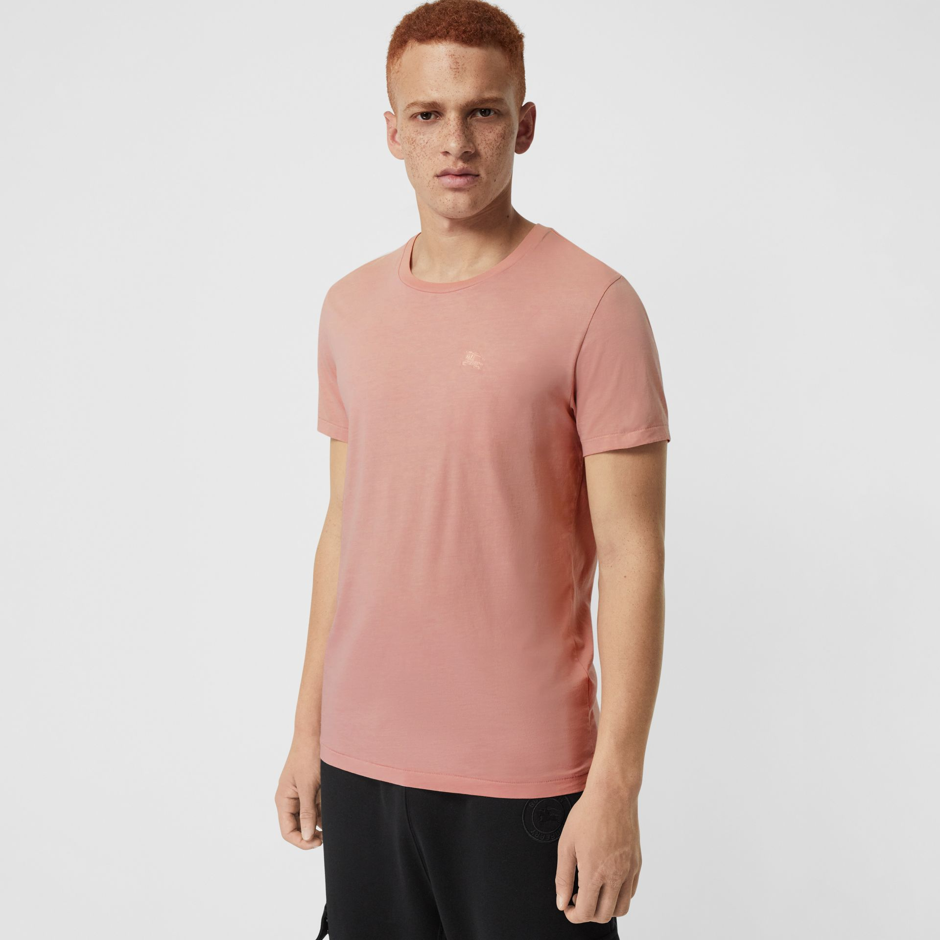 Cotton T-shirt in Chalk Pink - Men | Burberry - gallery image 0