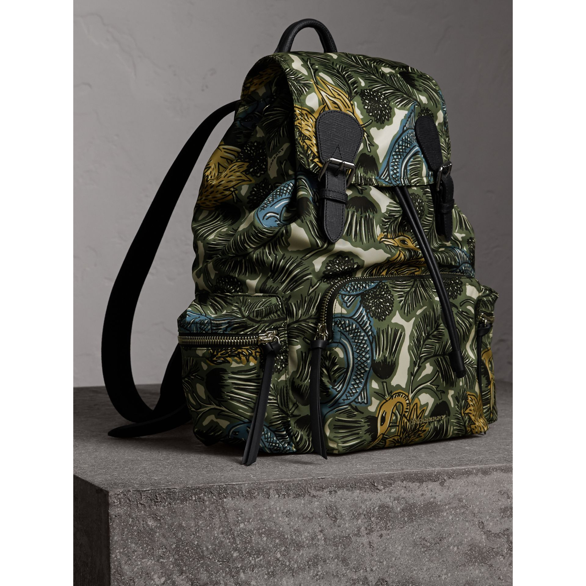 The Large Rucksack in Beasts Print Nylon and Leather in Sage Green - Men | Burberry - gallery image 5
