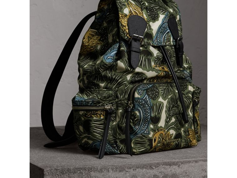 The Large Rucksack in Beasts Print Nylon and Leather in Sage Green - Men | Burberry - cell image 4