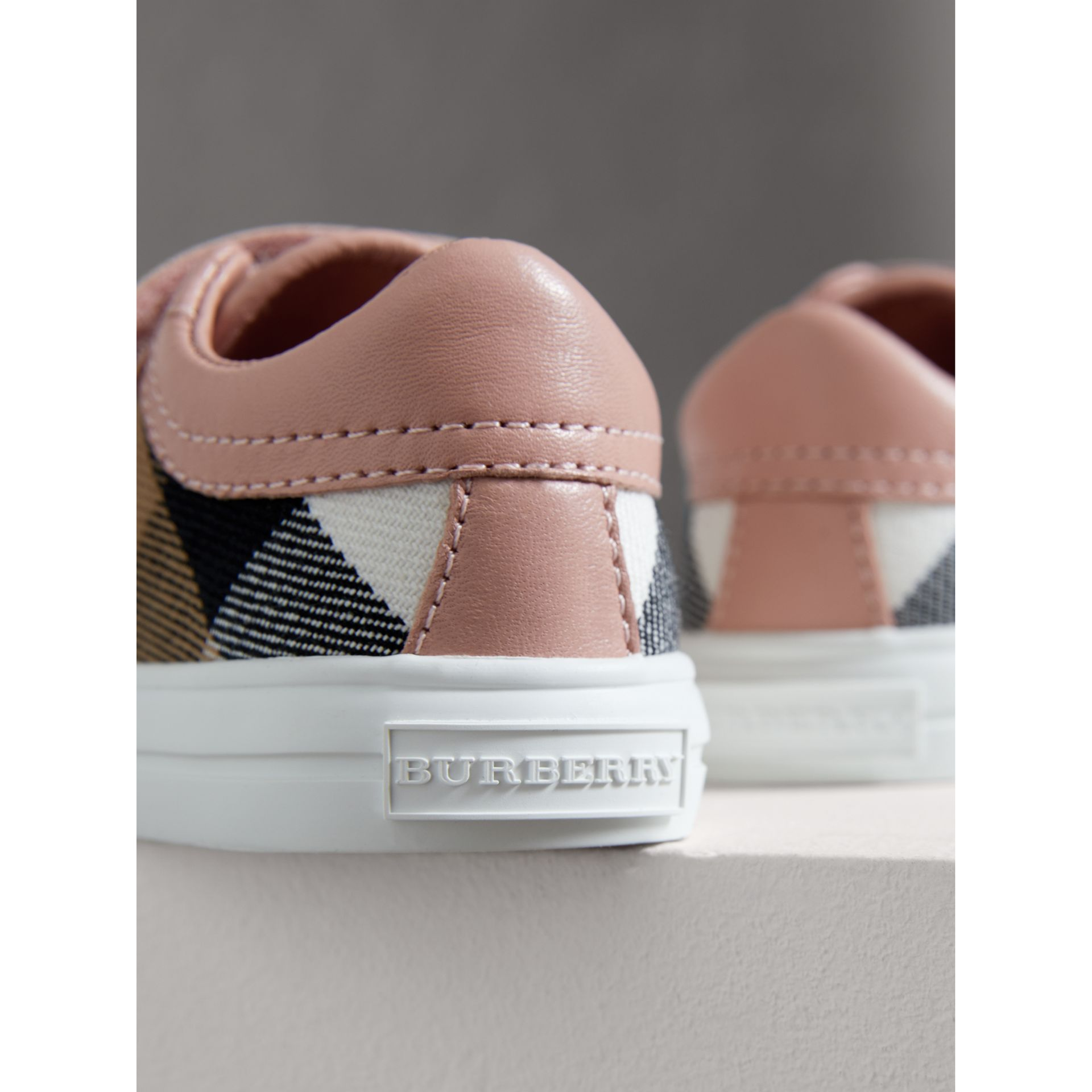 House Check and Leather Trainers in Peony Rose Melange - Children | Burberry - gallery image 1