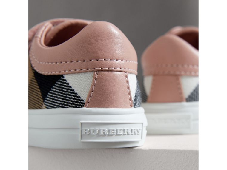 House Check and Leather Trainers in Peony Rose Melange - Children | Burberry United Kingdom - cell image 1