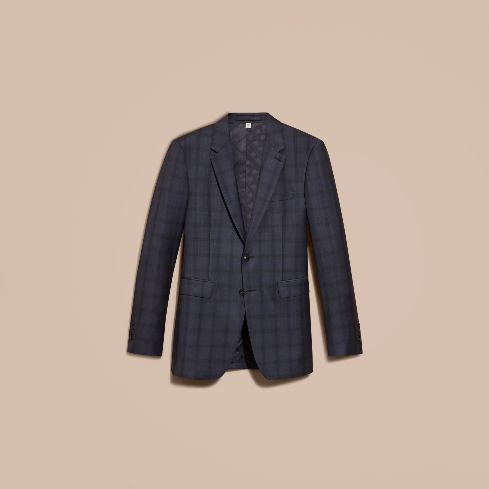 Navy Modern Fit Check Wool Part-canvas Suit - gallery image 4