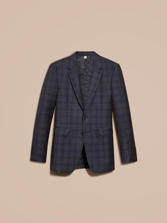 Navy Modern Fit Check Wool Part-canvas Suit - cell image 3