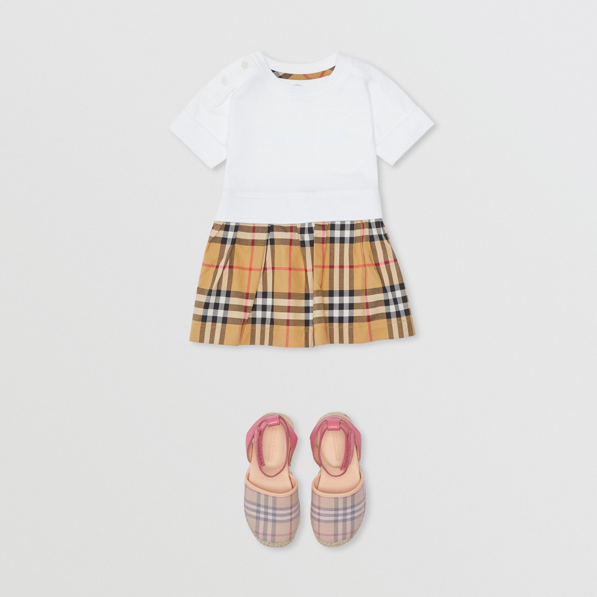 Vintage Check Cotton Dress with Bloomers in White - Children | Burberry United Kingdom - gallery image 2