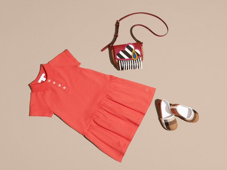 Check Placket Cotton Blend T-Shirt Dress - cell image 4