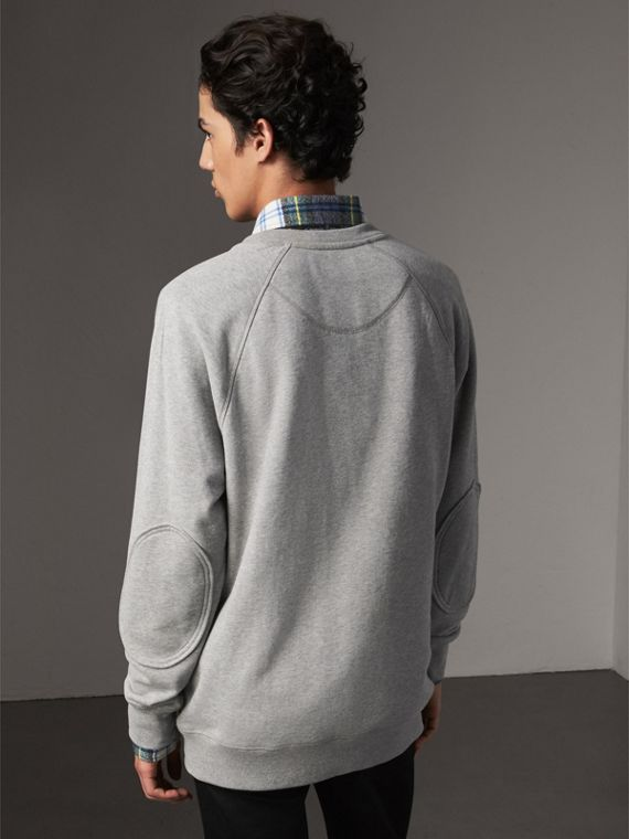 Creature Motif Jersey Sweatshirt in Pale Grey Melange - Men | Burberry United Kingdom - cell image 2