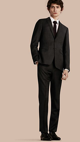 Slim Fit Check Wool Travel Tailoring Suit
