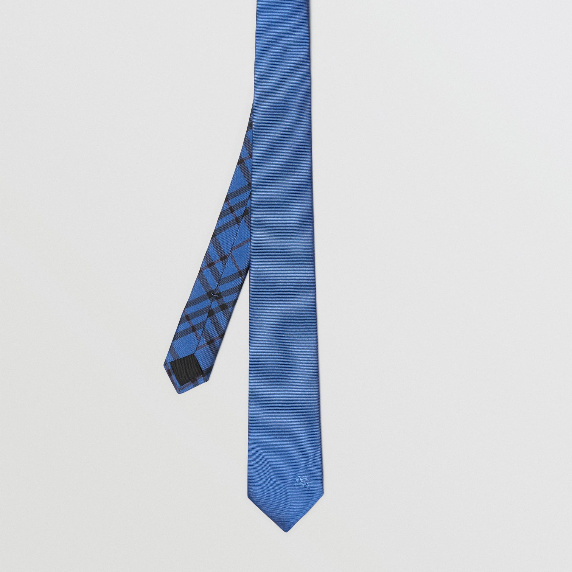 Modern Cut Check Detail Silk Tie in Bright Cobalt - Men | Burberry United Kingdom - gallery image 3
