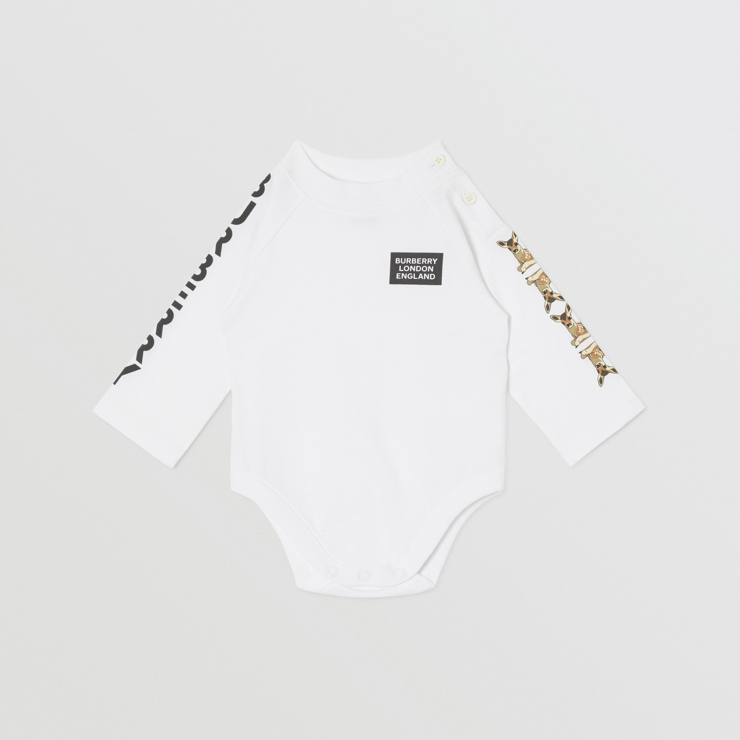 Check Trim Organic Cotton Two-piece Baby Gift Set in White - Children | Burberry - 4