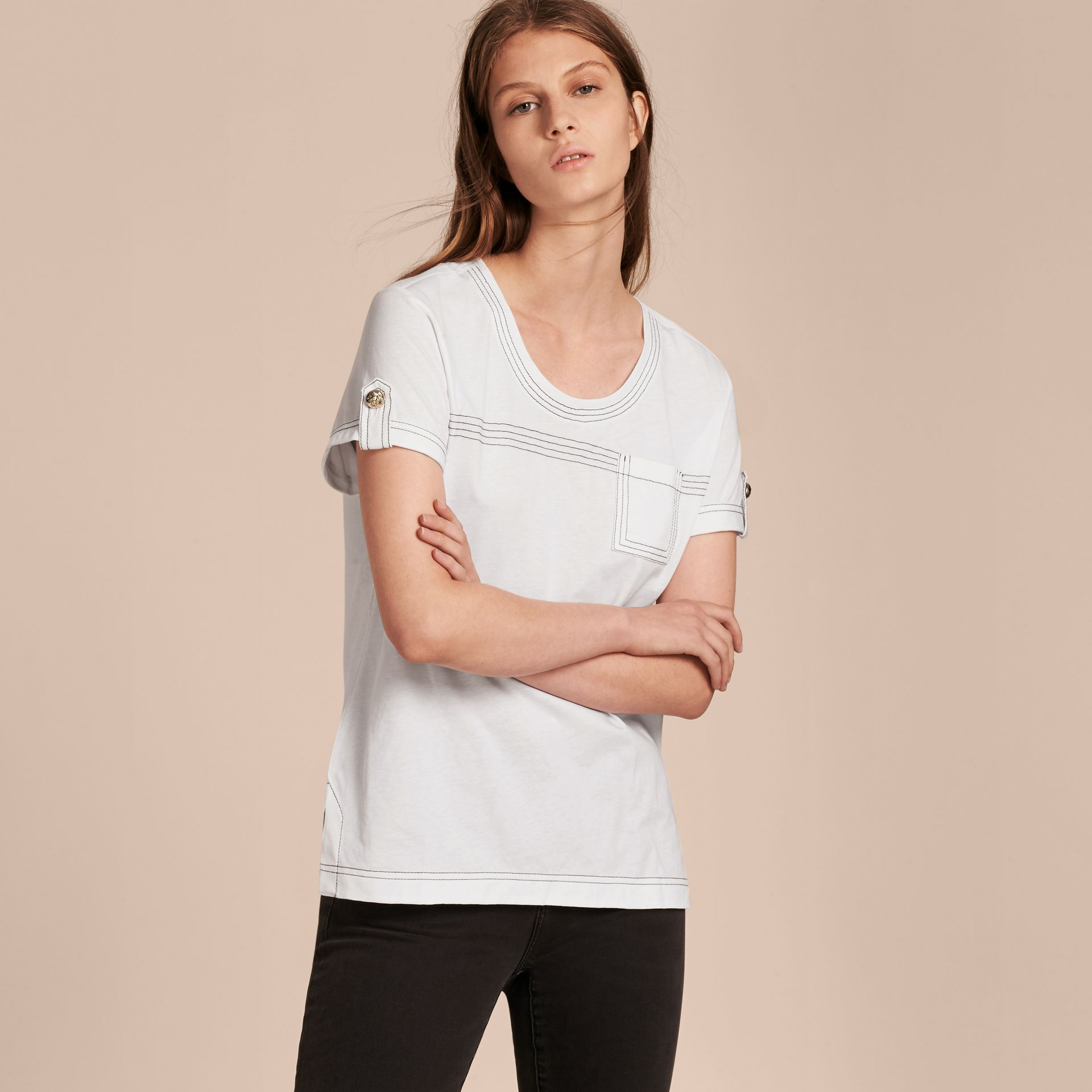 White Topstitch Detail Cotton T-shirt White - gallery image 6