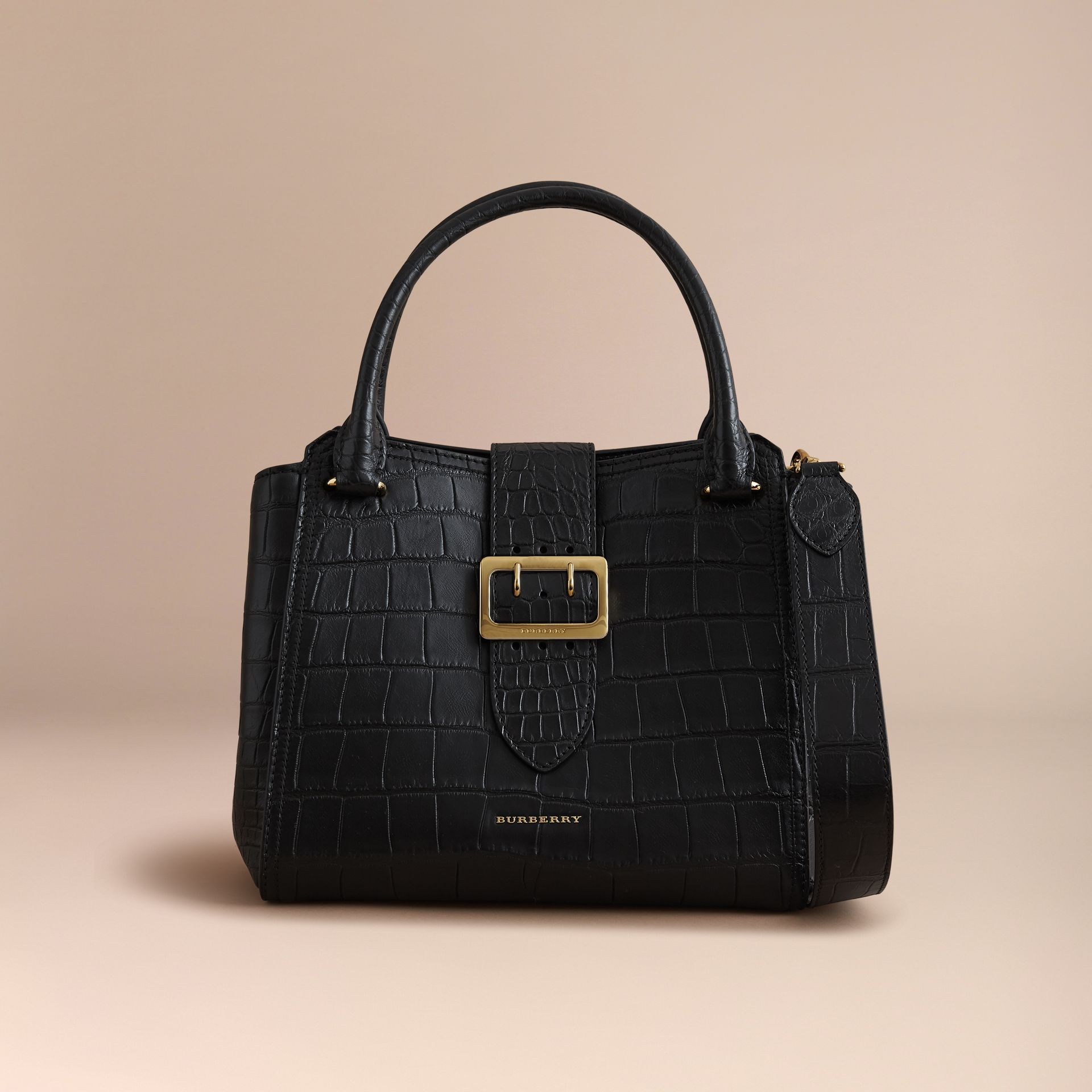 The Medium Buckle Tote in Alligator in Black - Women | Burberry United Kingdom - gallery image 0