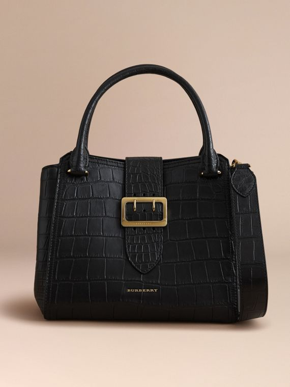 The Medium Buckle Tote in Alligator in Black