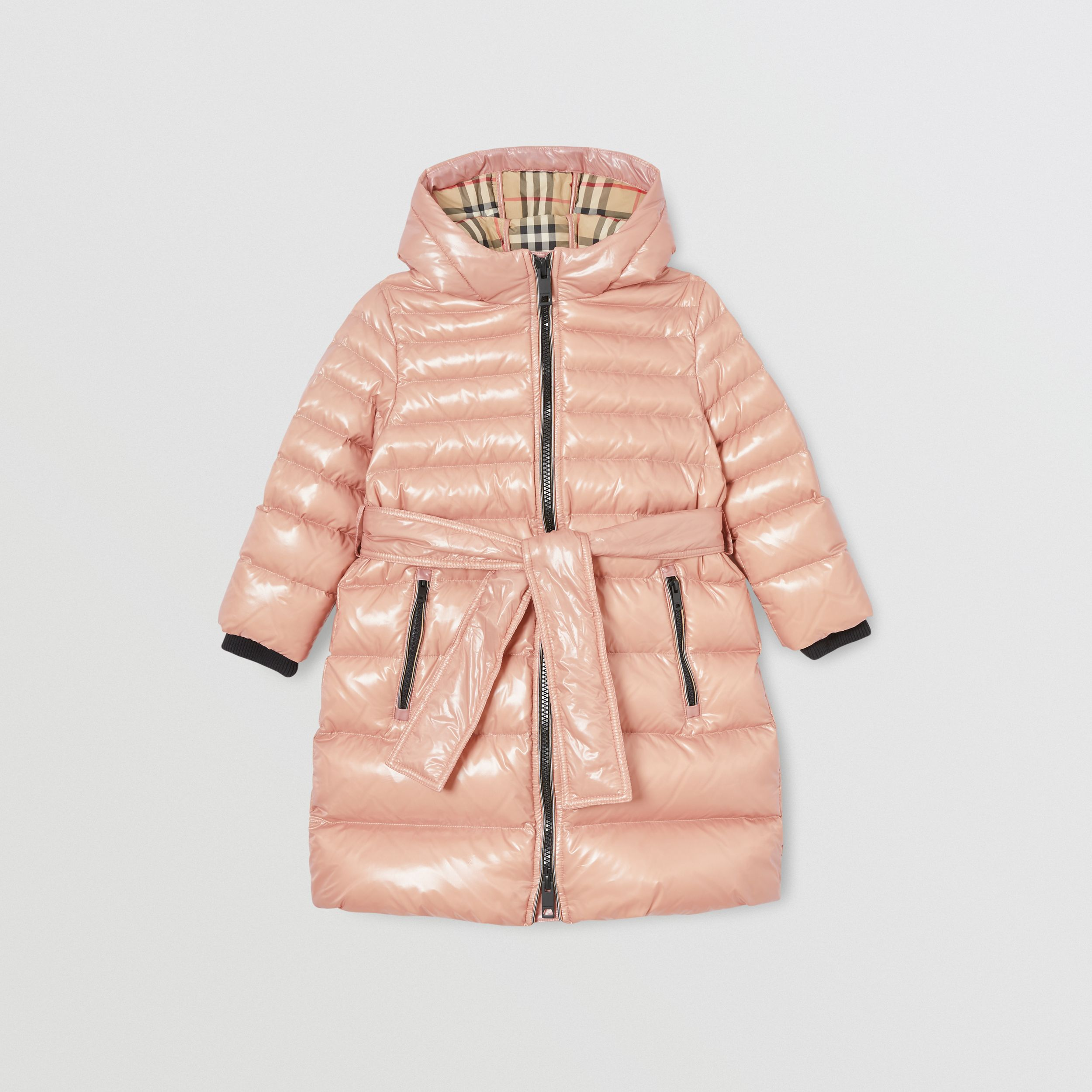 Icon Stripe Detail Down-filled Hooded Puffer Coat in Lavender Pink | Burberry - 1