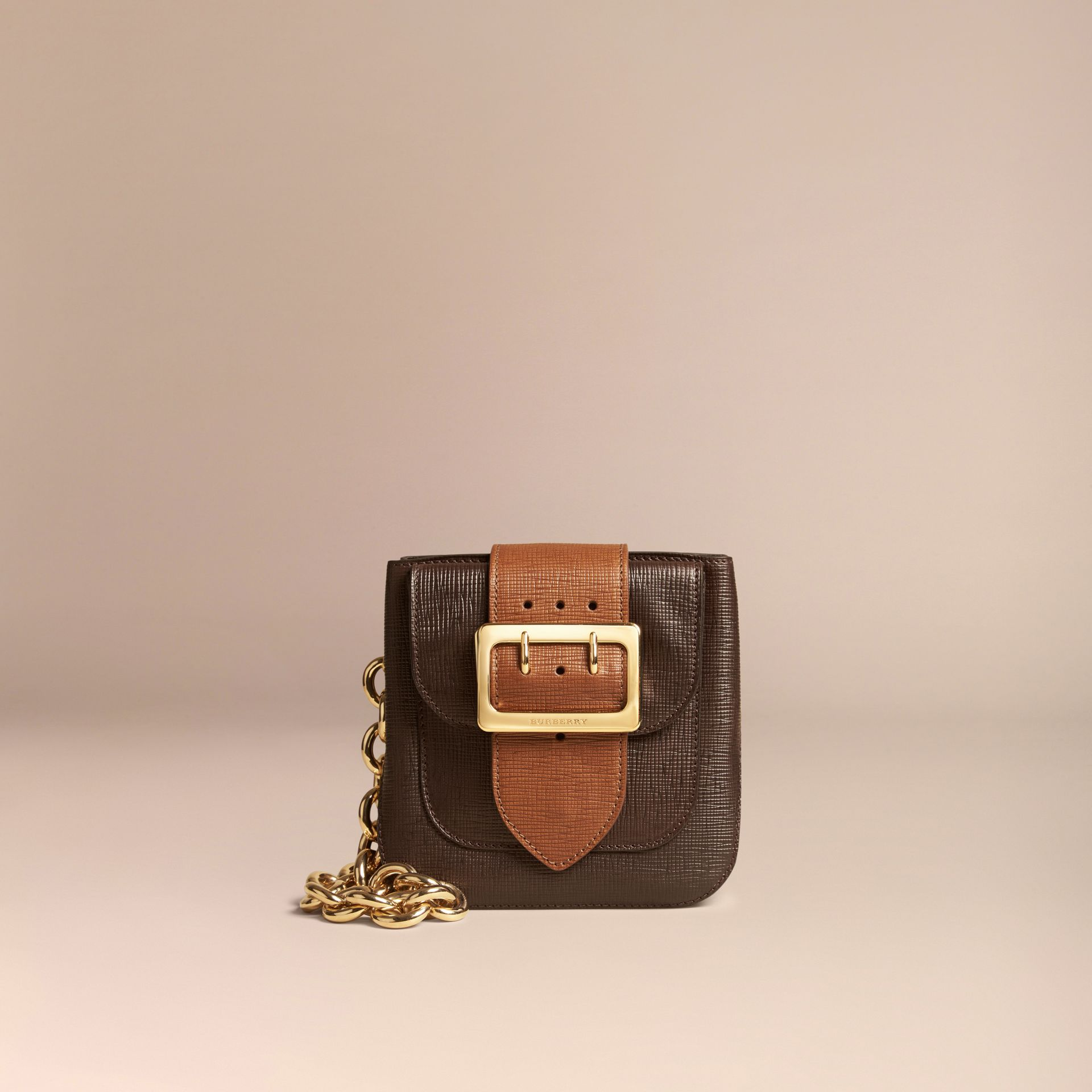 Dark clove brown The Small Square Buckle Bag in Textured Leather - gallery image 7