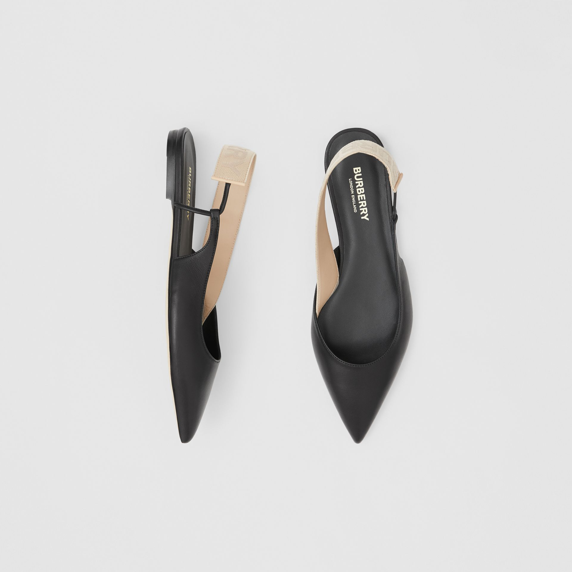 Logo Detail Leather Slingback Flats in Black - Women | Burberry Hong Kong S.A.R - gallery image 0