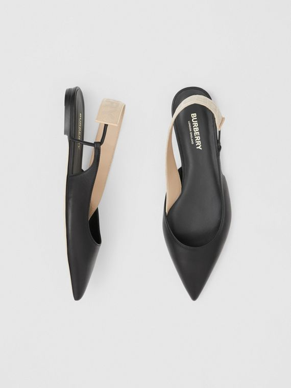 Logo Detail Leather Slingback Flats in Black