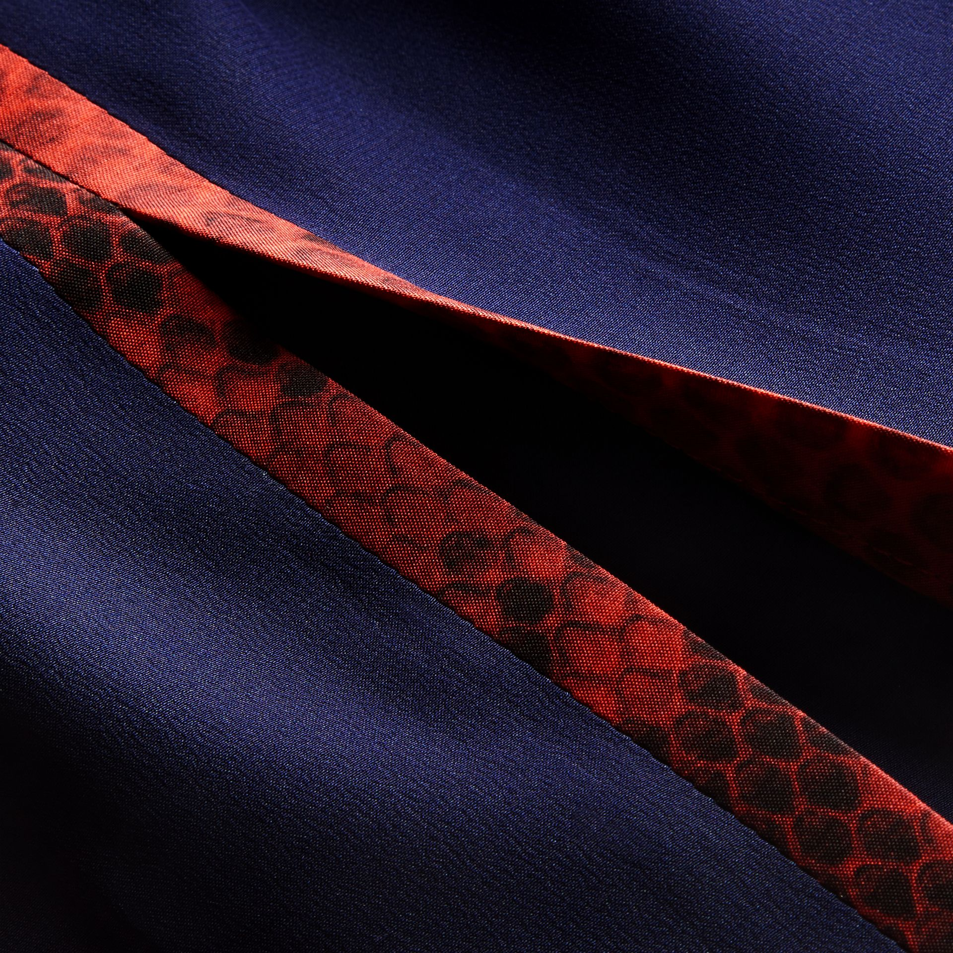 Bright navy Python Print Detail Silk Satin Shirt Dress - gallery image 2