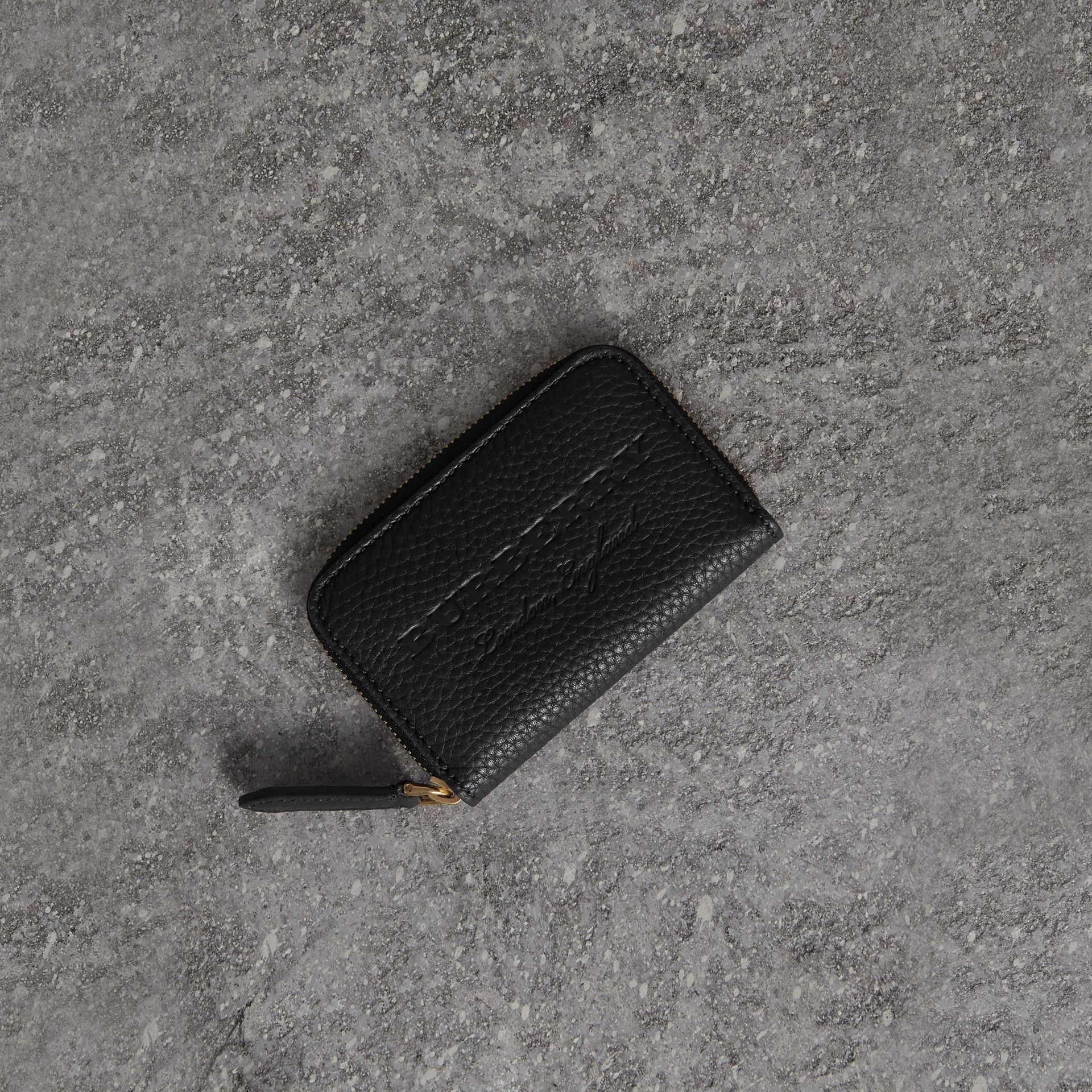 Textured Leather Ziparound Coin Case in Black - Men | Burberry - gallery image 0