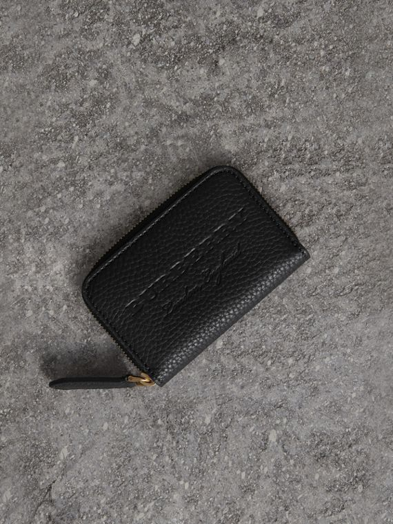 Textured Leather Ziparound Coin Case in Black