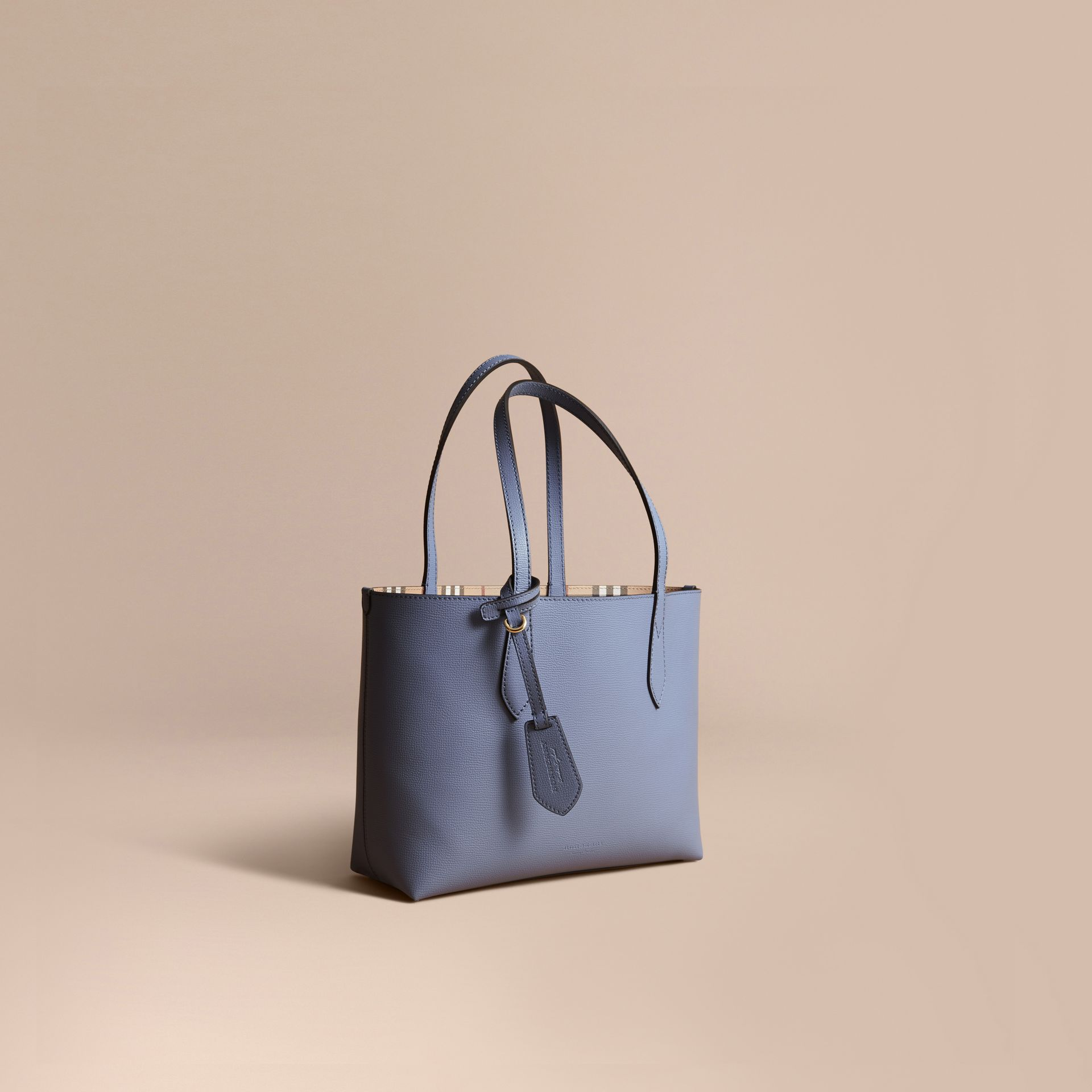 The Small Reversible Tote in Haymarket Check and Leather in Slate Blue - gallery image 1