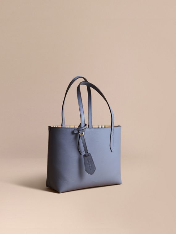 The Small Reversible Tote in Haymarket Check and Leather in Slate Blue