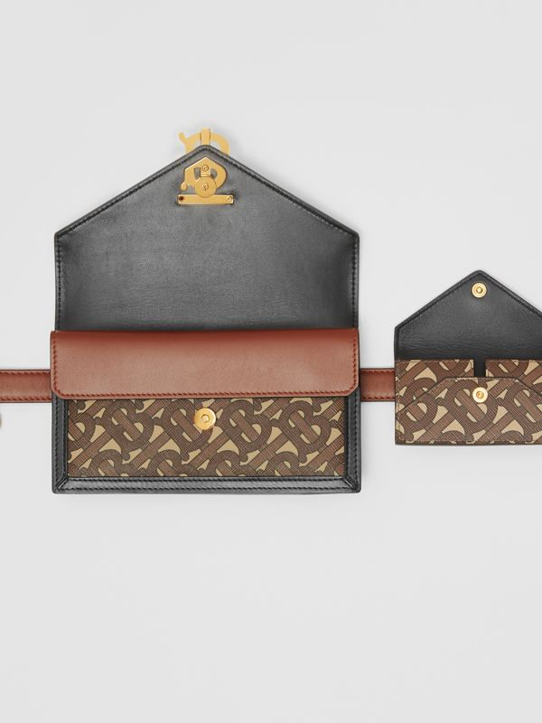 Belted Monogram E-canvas TB Envelope Clutch in Bridle Brown - Women | Burberry - cell image 3