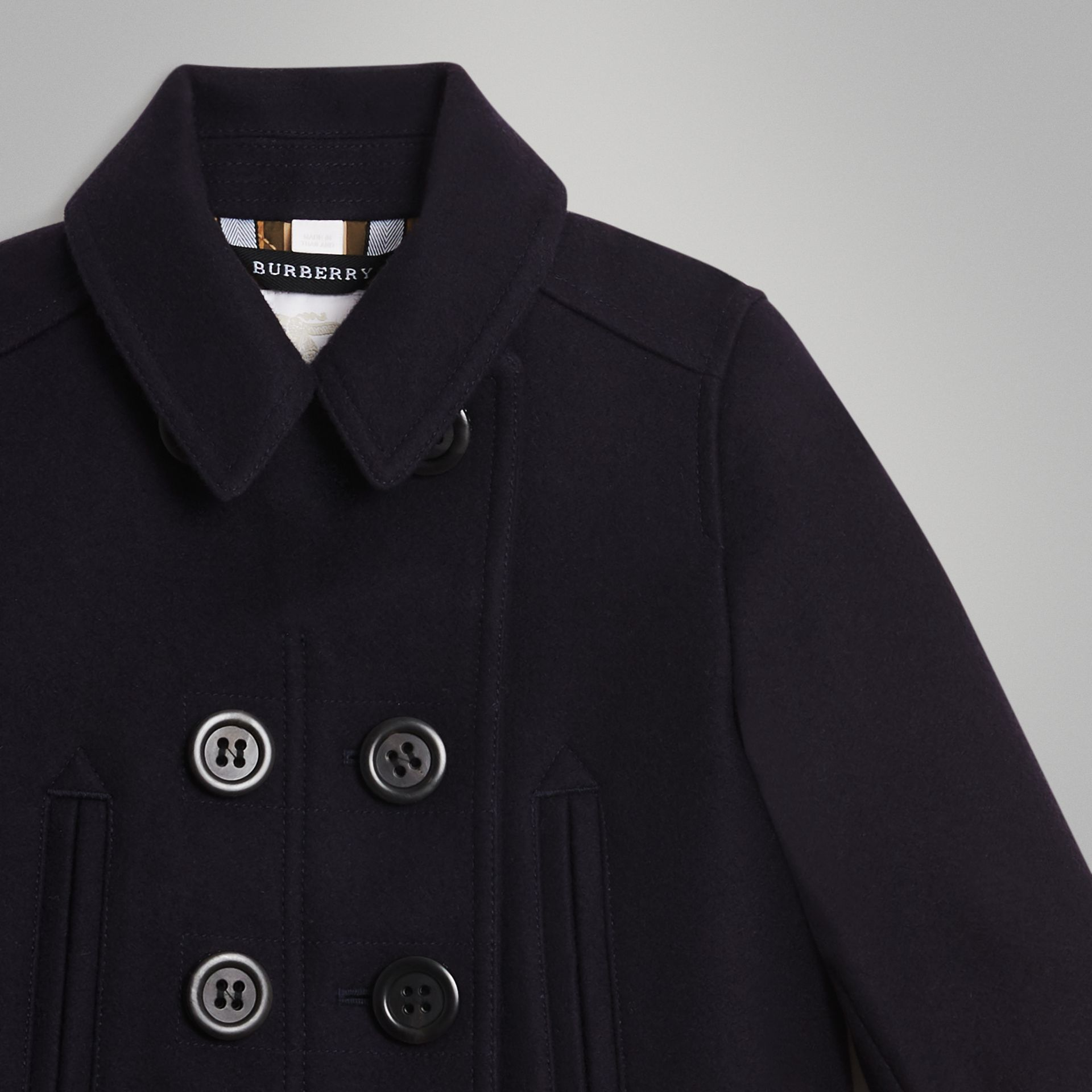 Wool Cashmere Blend Pea Coat in Navy | Burberry United States - gallery image 4
