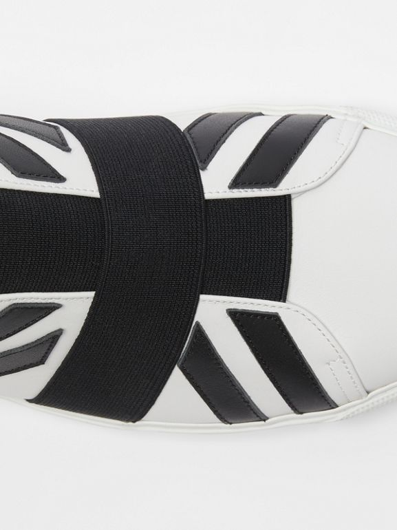 Union Jack Motif Slip-on Sneakers in White - Men | Burberry - cell image 1