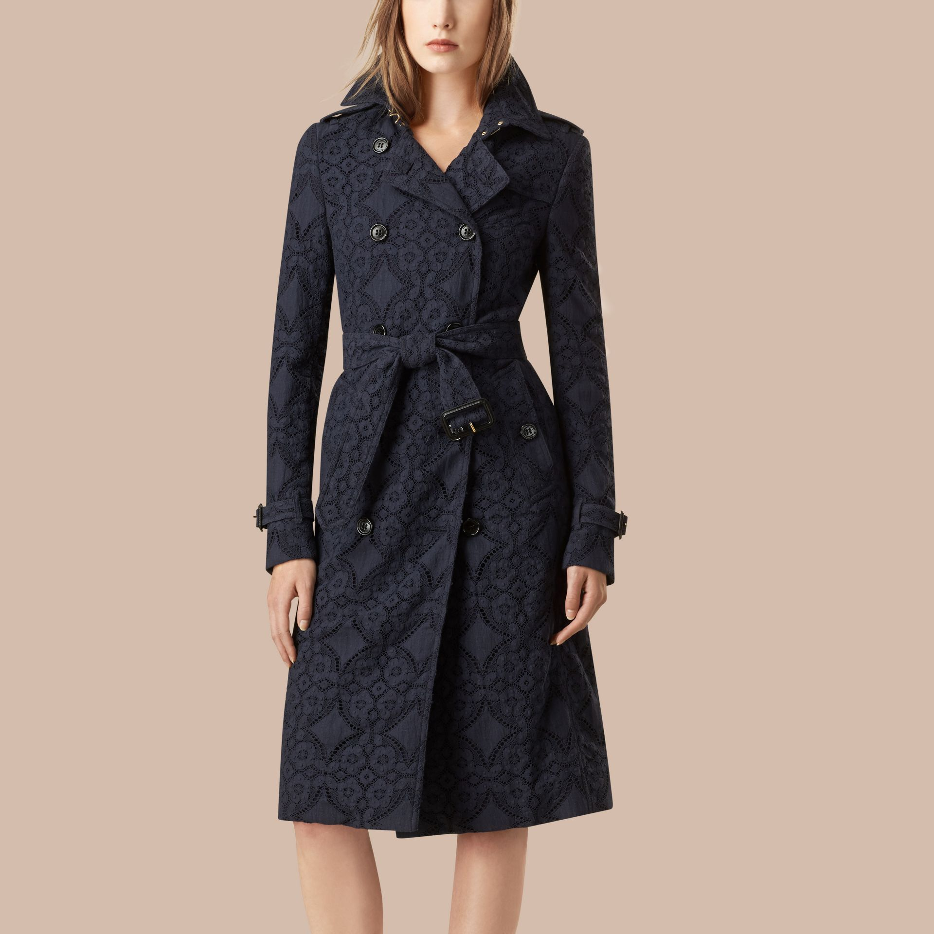 Ink Gabardine Lace Trench Coat Ink - gallery image 1